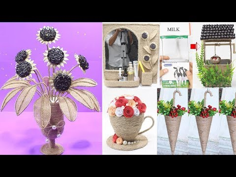 5 Diy ideas with jute rope | Home decor handmade 2019