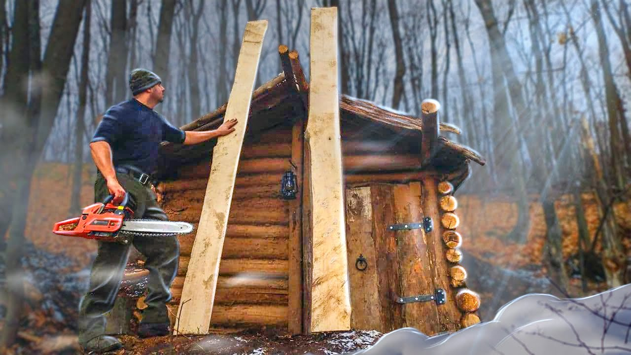 Log cabin: good homemade plank floors, continuing to build a shelter in the woods, bushcraft