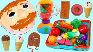 Mr. Play Doh Head Eats too Many Treats and Needs Toy Velcro Cutting Fruit & Vegetables!