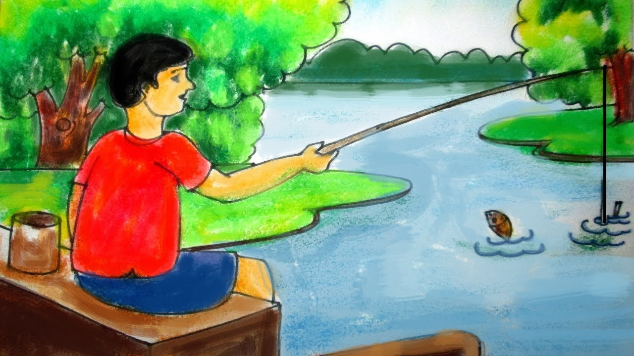 How to draw a scenery of fishing for kids with a boy by for Fish scenery drawing