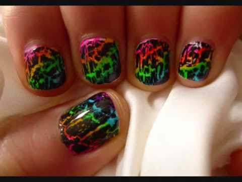 Tutorial Rainbow Crackle Nail Design Youtube