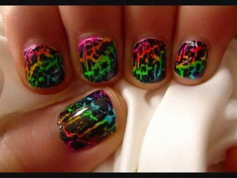 tutorial rainbow crackle nail