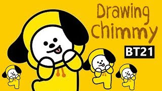 BTS BT 21 drawing, chimmy fan art, Jimin BT 21 chraracter, Chimmy BT21 (방탄소년단 지민)