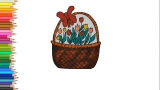 Как нарисовать корзинку с цветами поэтапно к 8 Марта ( かごの描き方)