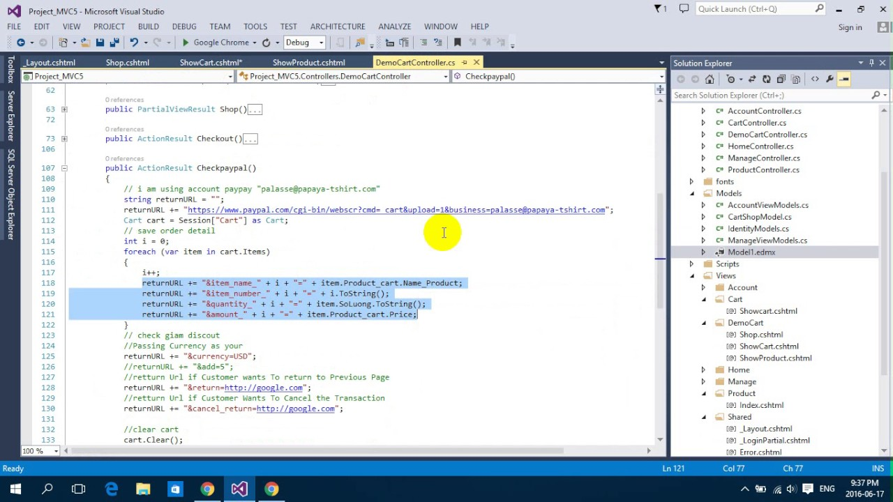 payment paypal using javascript jquery and asp net mvc 5