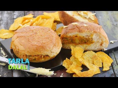 Tava Cheese Burger, Quick Snack by Tarla Dalal