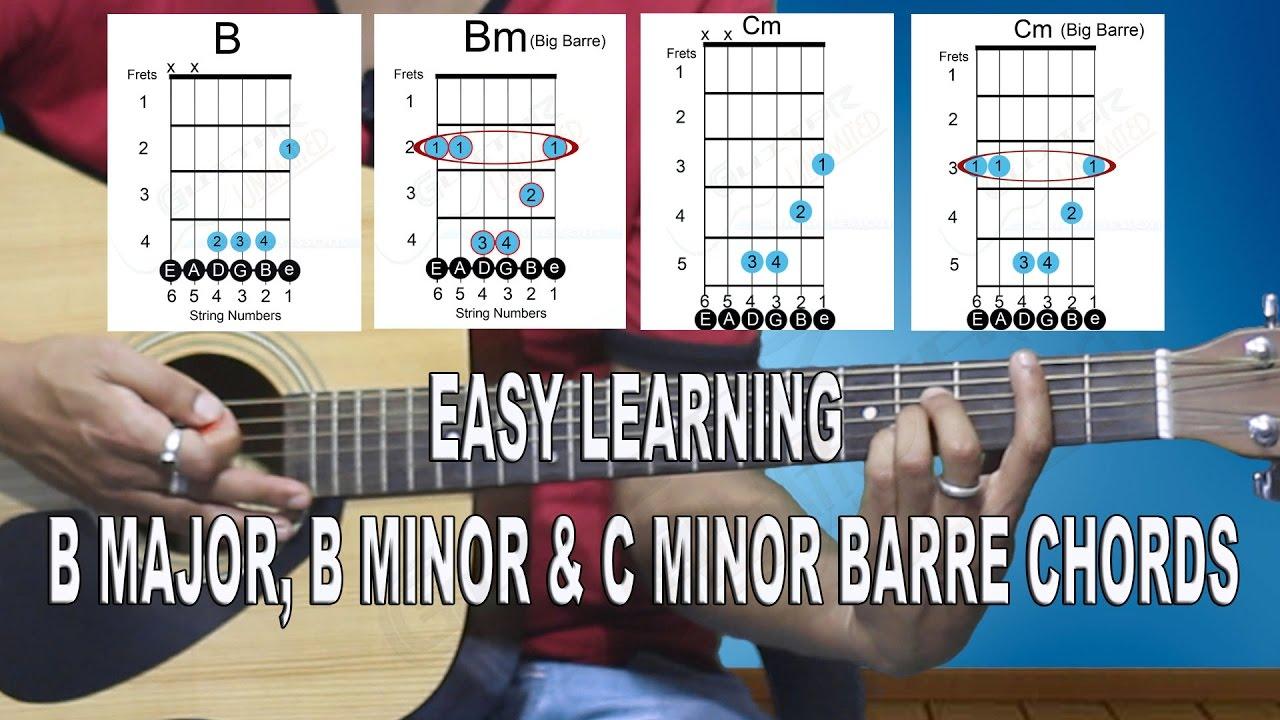 Easy Learning B Major B Minor C Minor Barre Chords Beginner