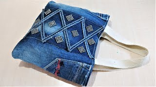 How To Make Hand Bag / Tote Bag From Old Jeans | DIY Easy Jeans Bag | Old Cloth Reuse Ideas