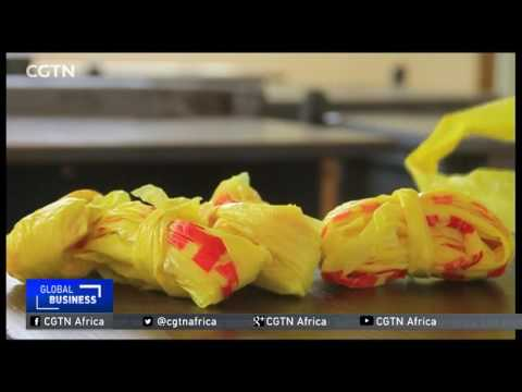 Making accessories from recycled plastic bags in Nigeria