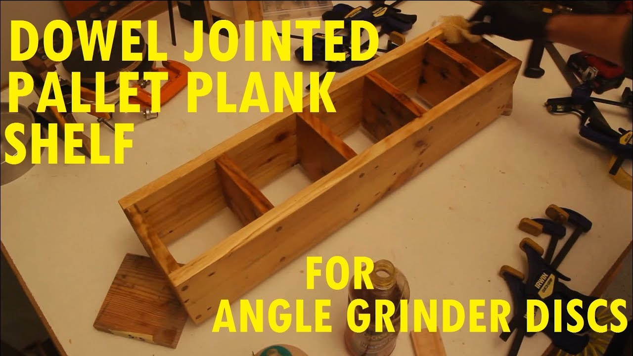 simple pallet wood shelf for angle grinder discs with ...