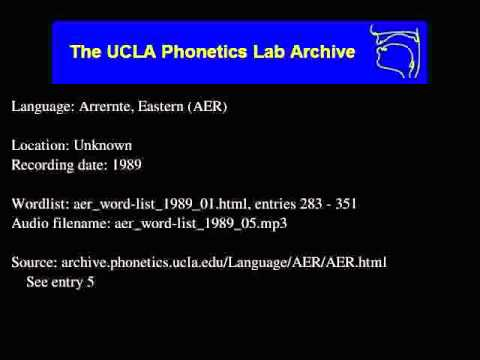 Arrernte, Eastern audio: aer_word-list_1989_05