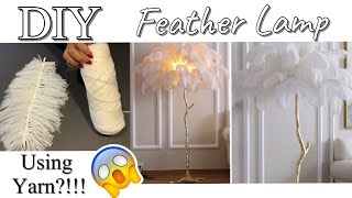 HOW TO USE YARN TO DIY A FEATHER LAMP| DIY FLOOR LAMP