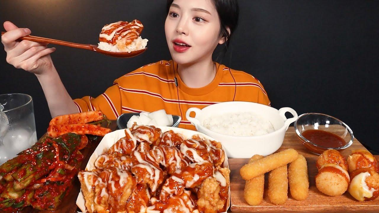 SUB)처갓집 슈프림양념치킨에 치밥 먹방 치즈스틱 치즈볼까지 (ft.총각김치&오이소박이) 꿀조합 리얼사운드 Chicken with Rice Mukbang ASMR