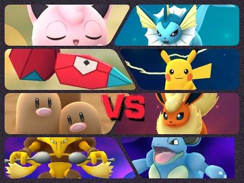 Pokémon GO Gym Battles LEVEL 8 gym Pikachu Dugtrio Jigglypuff  Alakazam Kabutops & more