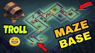 GIANT CANNON MAZE BASE | BH7 MAZE TROLL BASE ATTACKS | CLASH OF CLANS