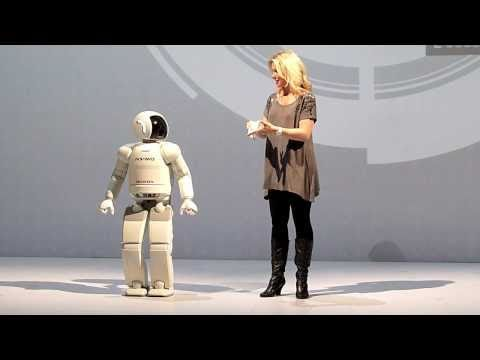 Humanoid robot ASIMO at Ars Electronica Center in Linz 2010 (HD)