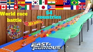Hot Wheels World Race Battle 54 Countries Fast and the Furious Super Slalom Course Tournament race