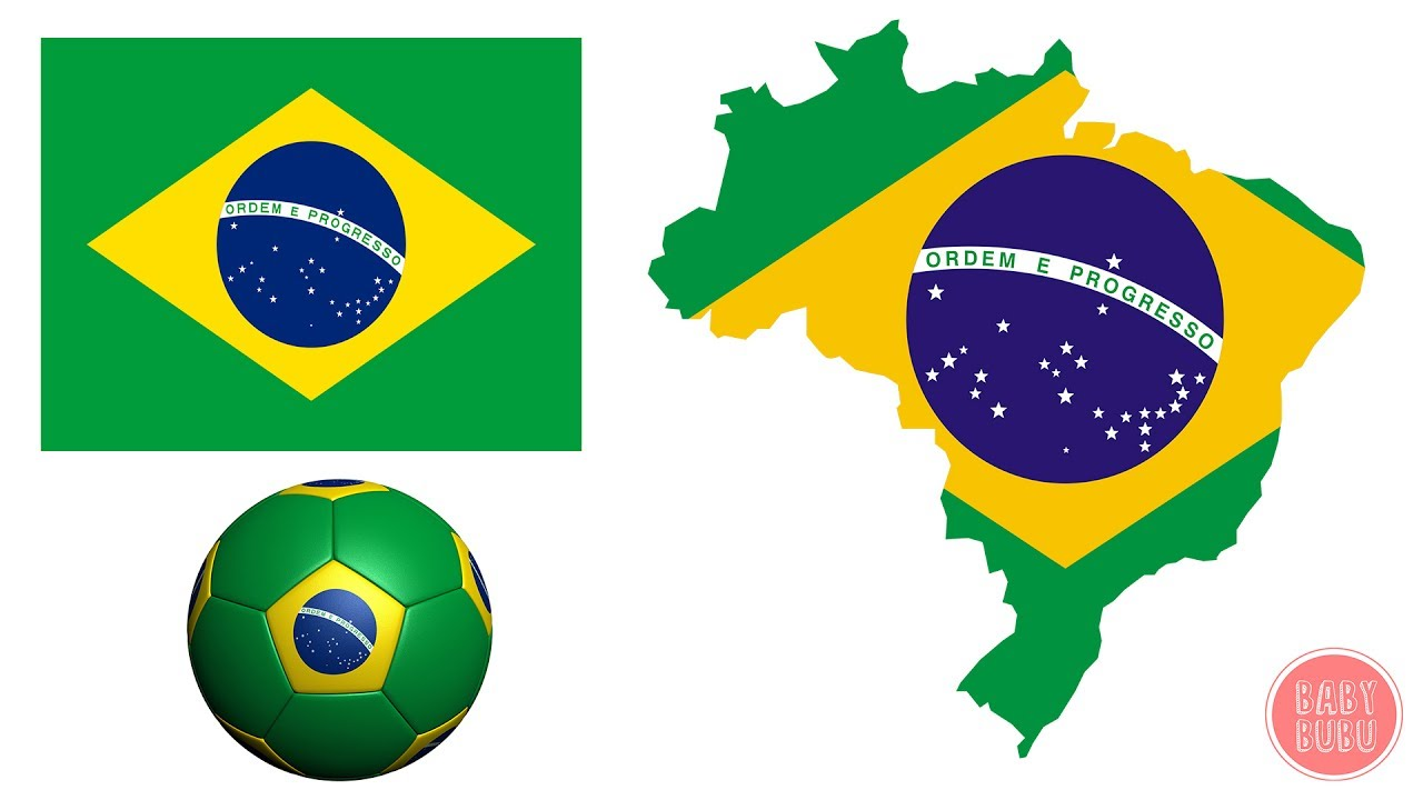 Geography For Kids 2 - Coloring Flag of Brazil - Brasil Flag and ...
