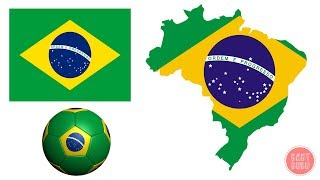 Geography For Kids 2 - Coloring Flag of Brazil - Brasil Flag and Football Ball Coloring for kids
