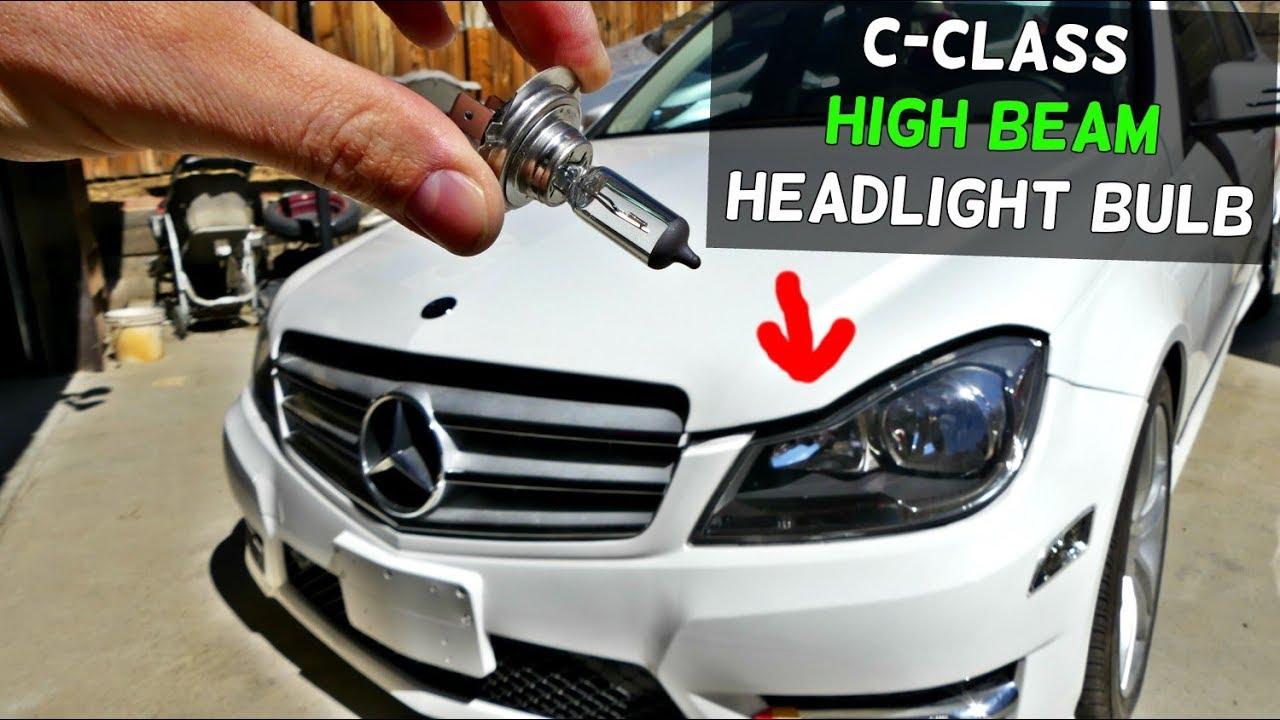 MERCEDES W204 HIGH BEAM HEADLIGHT BULB REPLACEMENT C250 C300 C350 C200 C220  C280