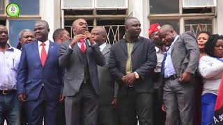 MDC T Acting President Nelson Chamisa addressing mourners at the MDC Headquarters. #263Chat
