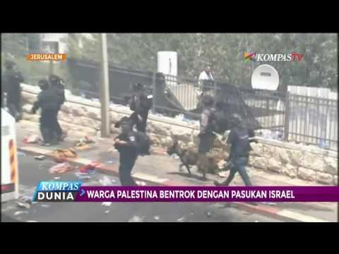 Warga Palestina Bentrok Dengan Pasukan Israel
