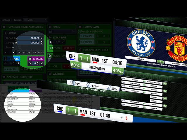 VMIX. Full Football graphics with UTC controller and EXCEL sheet data source