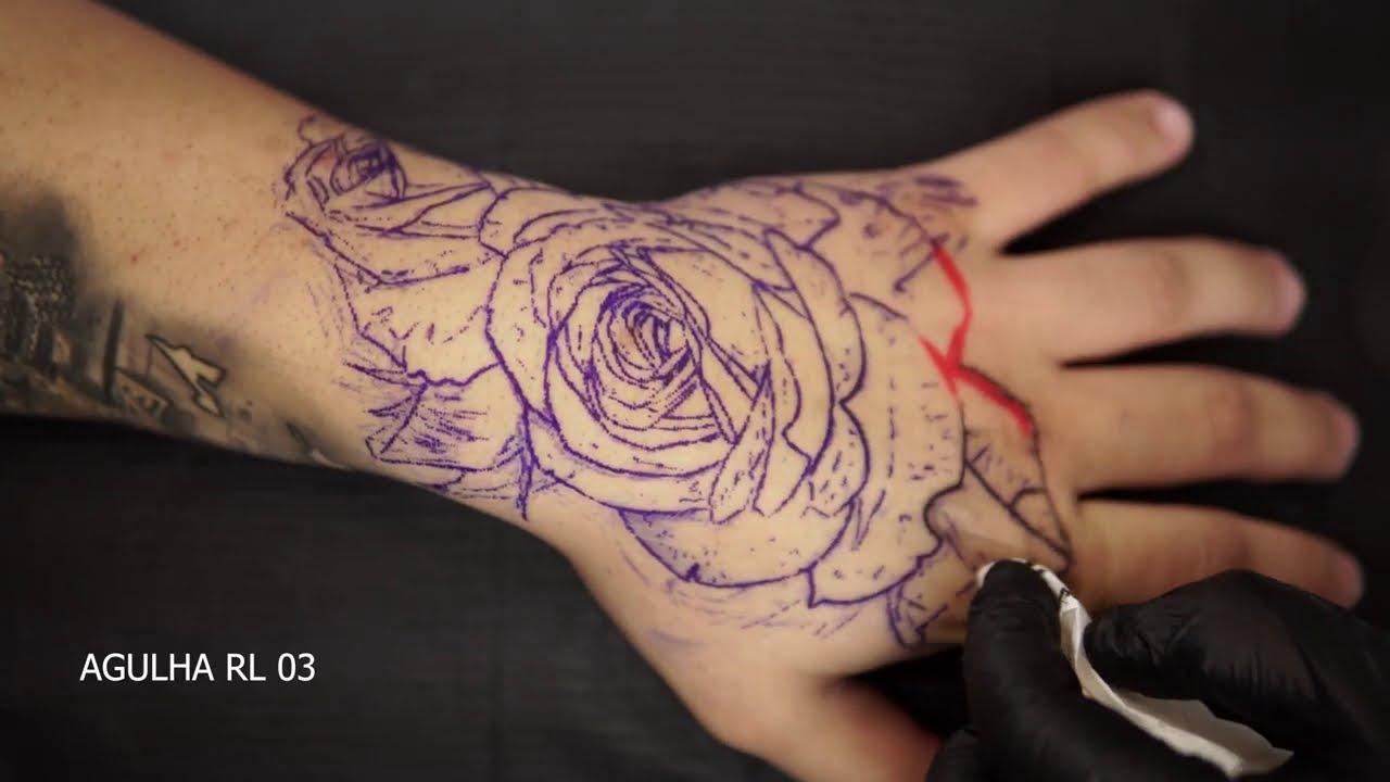 TATUAGEM DE ROSA NA MÃO - TATTOO ROSE HAND