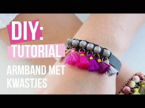 Sieraden maken: Armband met kwastjes, kralen en macramé! ♡ DIY
