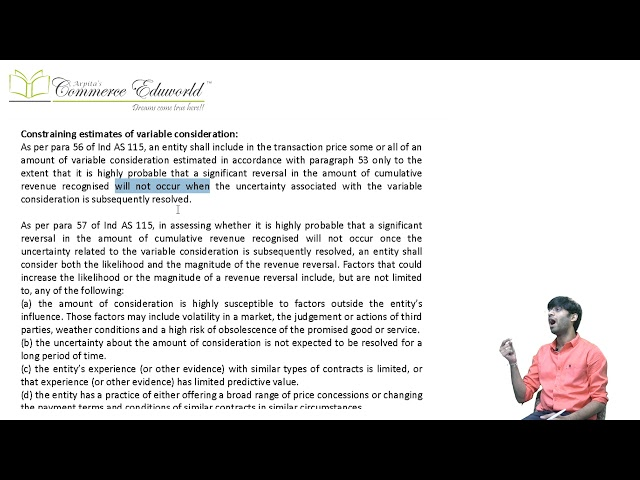 CA Final Financial Reporting Ind AS 115 (Part 3/5) by CA Vinesh Savla (New Course)