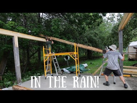 Putting up The Post and Beams DIY Off Grid OutDoor Kitchen Build