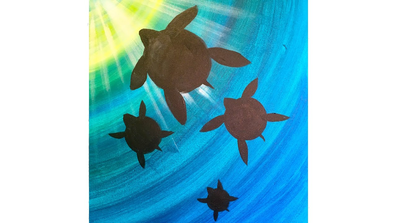 meditation turtle step by step acrylic painting on canvas for