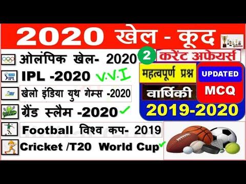 Sports Current Affairs /News 2020 | खेल/ Sports gk 2020 Hindi | khel Current affairs 2020 |RRB 2020