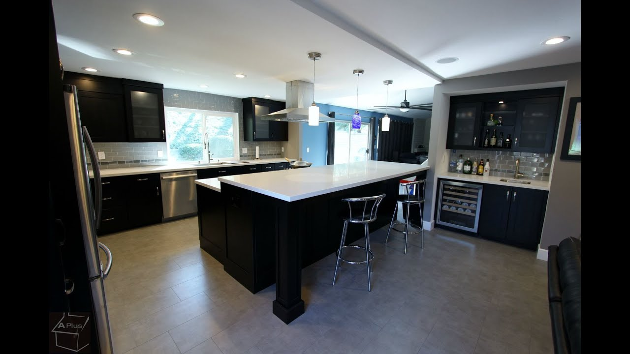 black and stainless kitchen tour of anaheim hills transitional black and stainless steel l shaped kitchen remodel aplus kitchen
