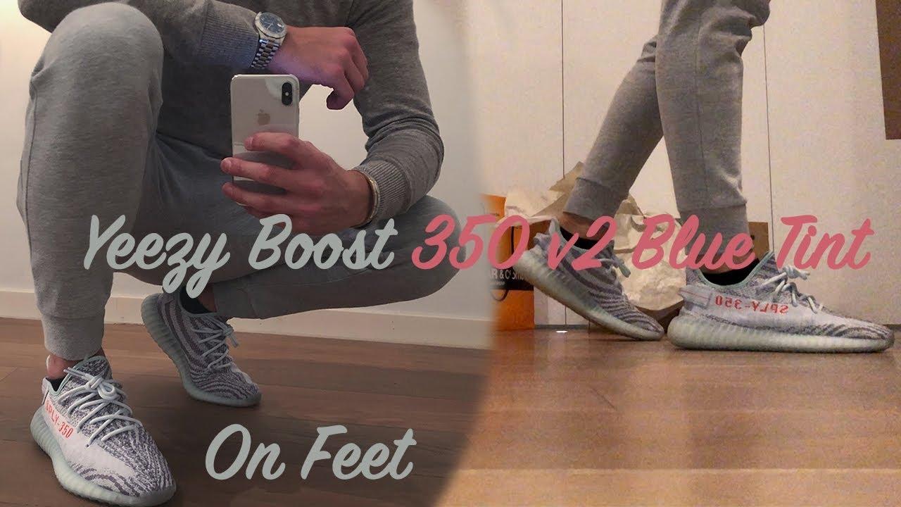 1f2e89039ab Yeezy Boost 350 v2 Blue Tint - On Feet - YouTube