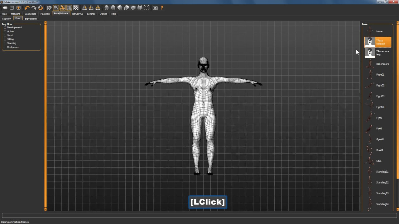 Makehuman - 3 different compatible poses for Second LIfe and Open Simulator  (opensim)