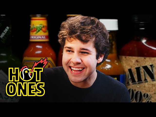 David Dobrik Experiences Real Pain While Eating Spicy Wings   Hot Ones
