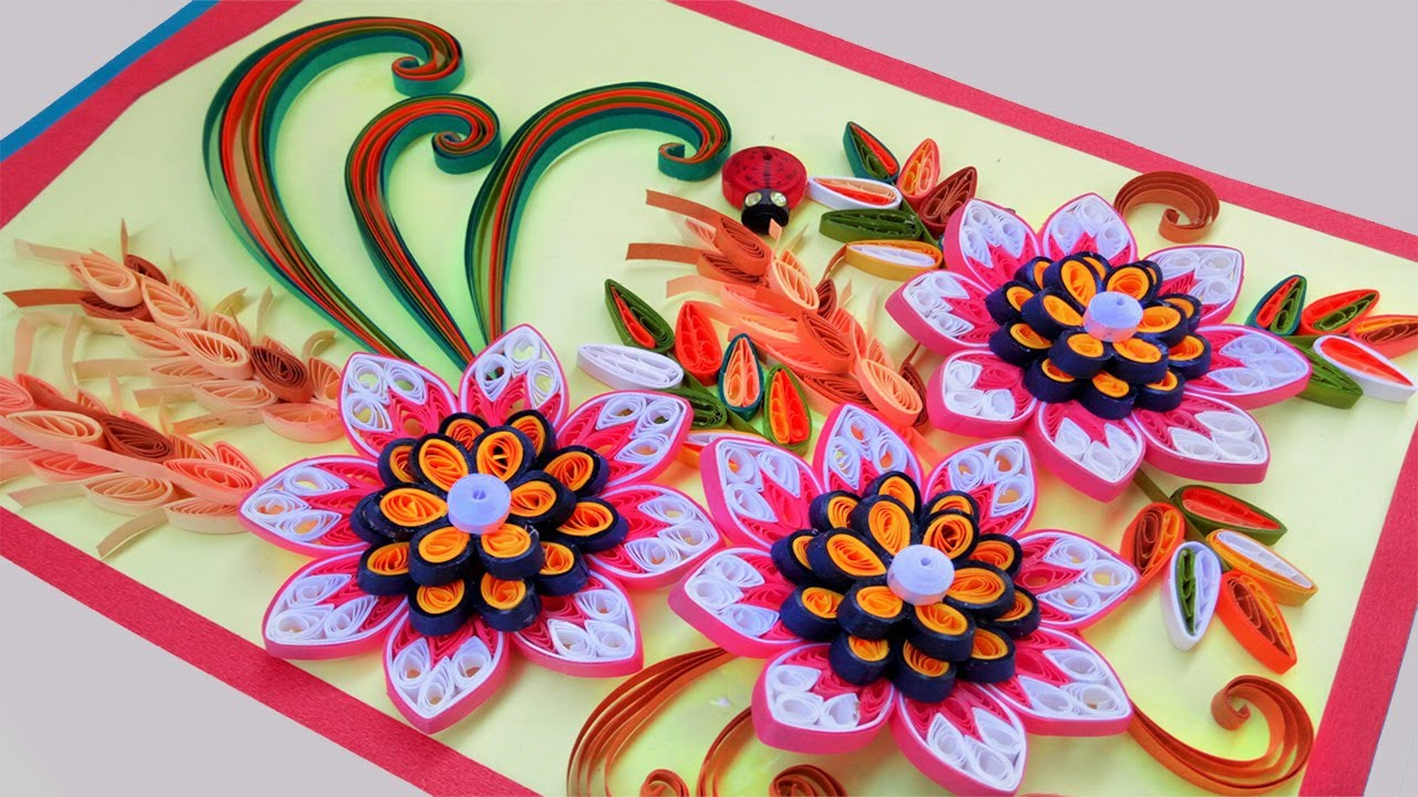 Paper quilling card beautiful quilling 3d flower quilling paper quilling card beautiful quilling 3d flower quilling greeting cards paper quilling art mightylinksfo
