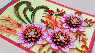 ☑️paper quilling card ❤Beautiful Quilling 3D flower quilling greeting cards