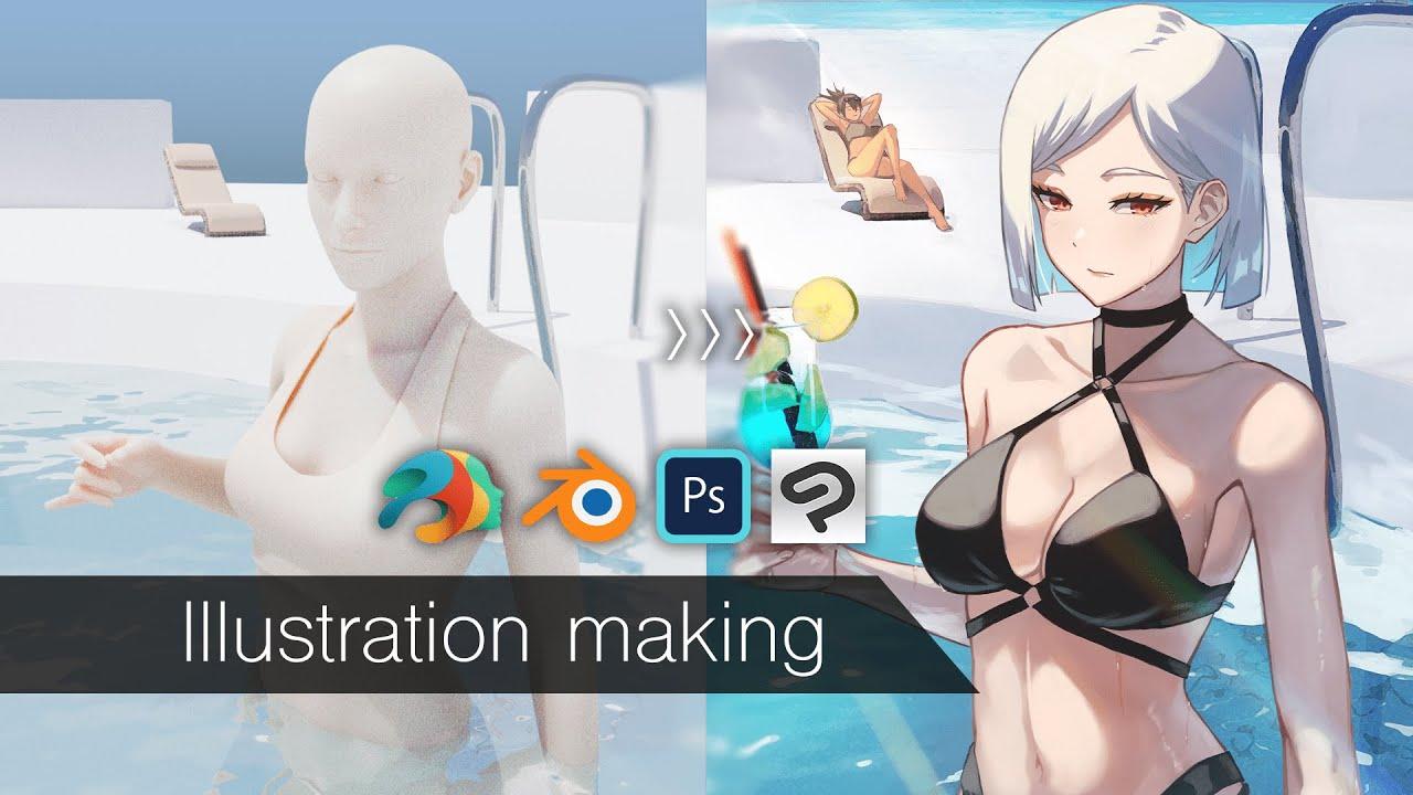 【イラストメイキング】Blender(背景)を活かしてオリジナルイラスト制作の模様【解説あり】