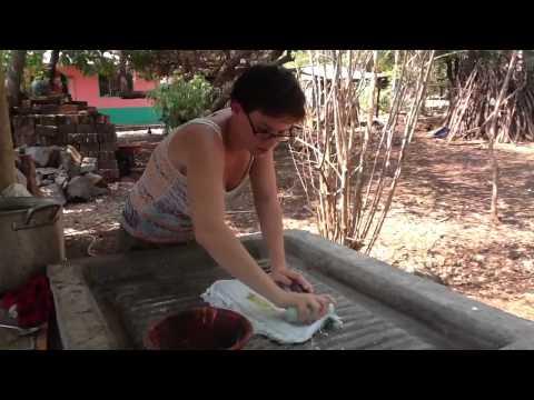 Washboard Washing on Concrete Washboard