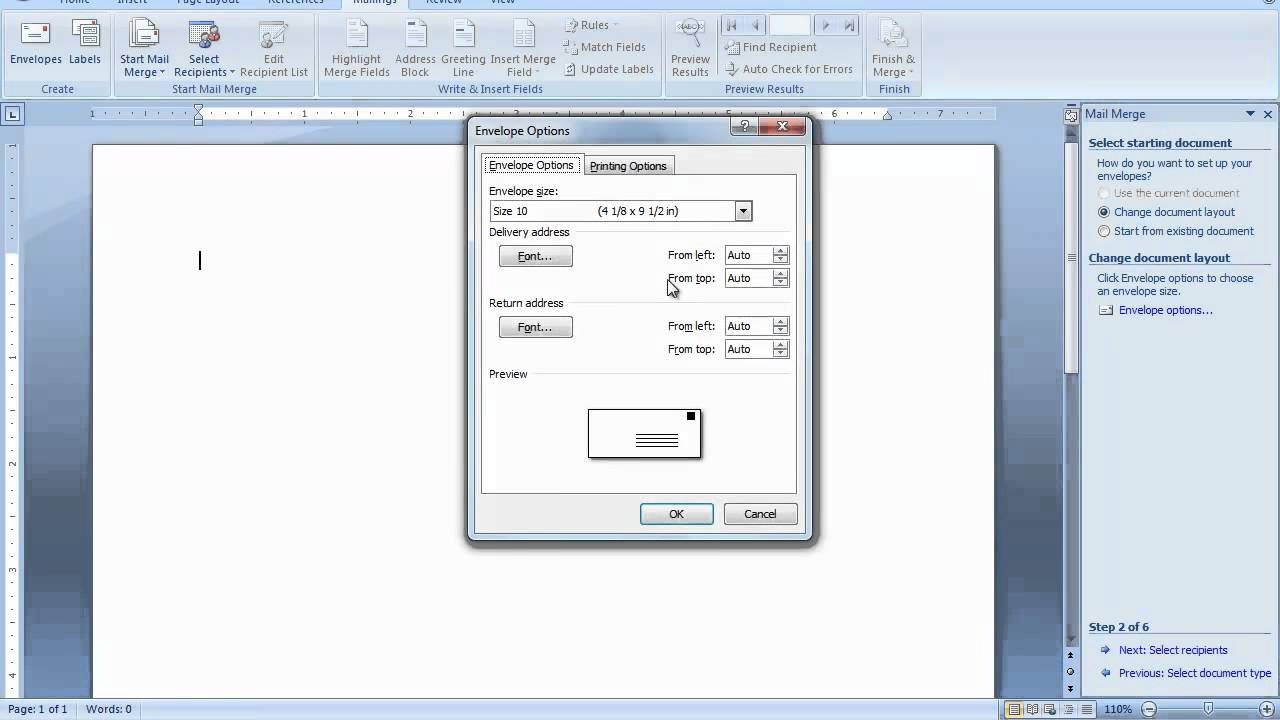 Mail merge envelopes in word 2007 or word 2010 youtube spiritdancerdesigns