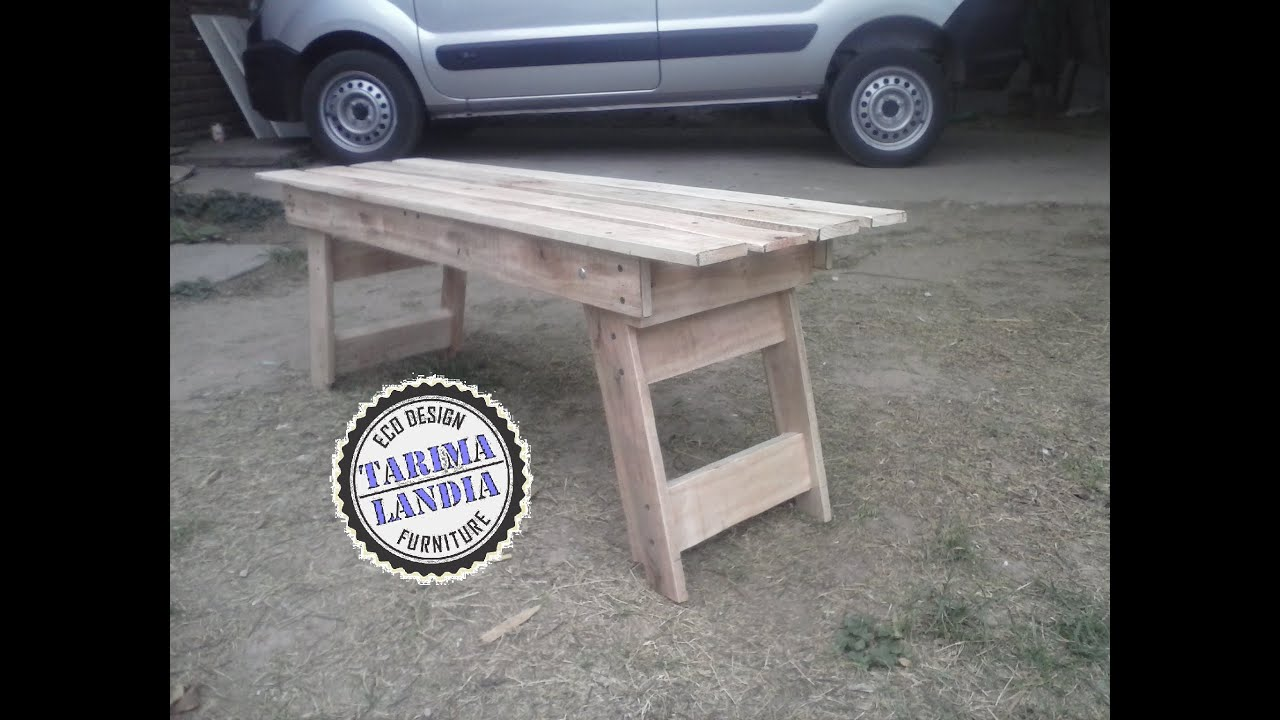 Banco con patas plegables madera reciclada de palet youtube for Patas de mesa plegables