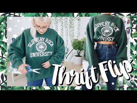 THRIFT FLIP CLOTHES NO SEW | transforming oversized clothing + thrift flip jeans