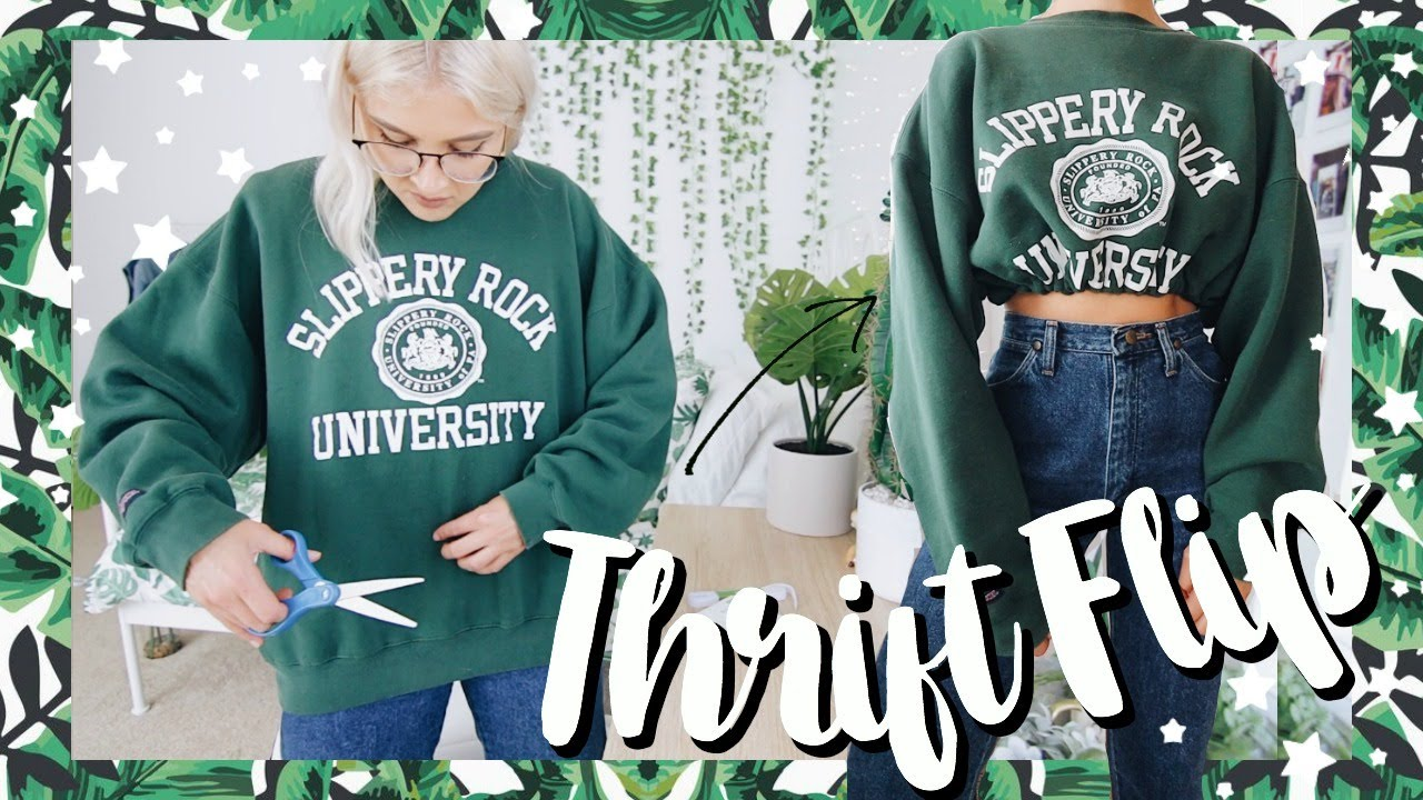 [VIDEO] - THRIFT FLIP CLOTHES NO SEW   transforming oversized clothing + thrift flip jeans 1