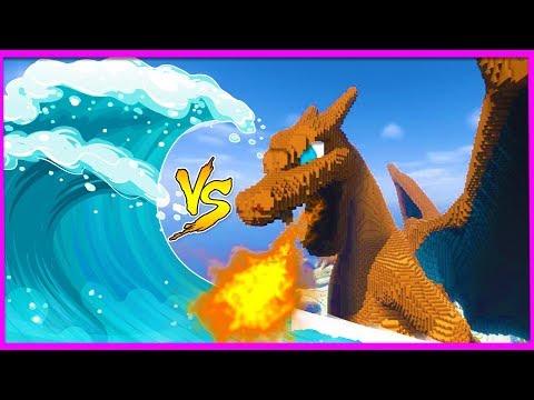 Minecraft -GIANT TSUNAMI VS POKEMON BASE! (Tsunami vs base challenge)