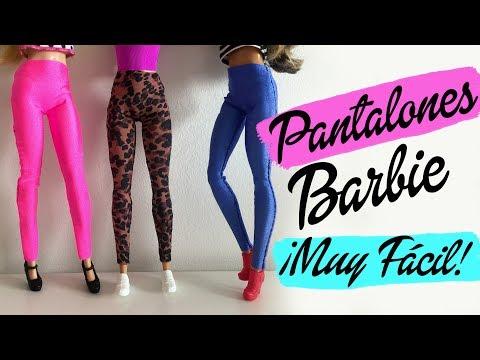 Cómo hacer un PANTALÓN o LEGGINS para Barbie ¡Muy fácil! Ropa para muñecas