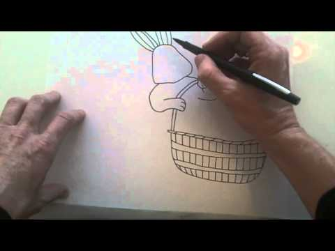How to draw an Easter bunny with a basket of eggs.