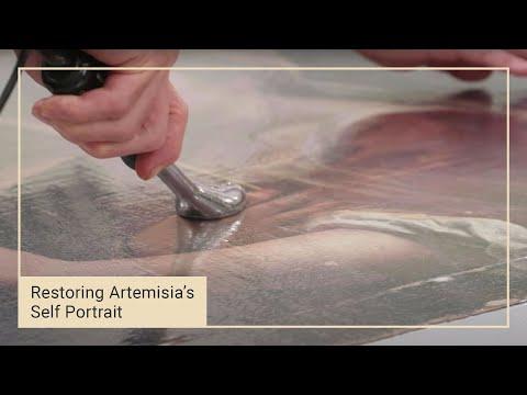 Applying the moisture treatment | Restoring Artemisia Gentileschi's 'Self Portrait'