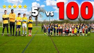 100 Kids vs 5 PRO Footballers In A Soccer Match - Challenge